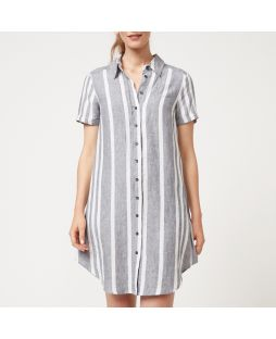 WD05 AWS|Yarn Dye Stripe Shirt Dress - Ash/White
