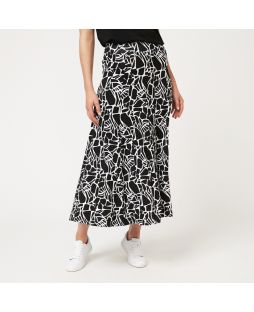 WD07 BWH|Viscose Maxi Skirt - Black/White Print