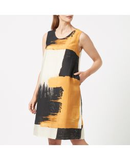 Tencel Blend Printed Longline Dress - Abstract print