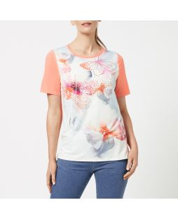 Embellished Crew Neck T-Shirt -  Summer Bouquet