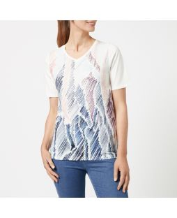 WT12 CLS|Embellished V-Neck T-Shirt - Coral Sketch
