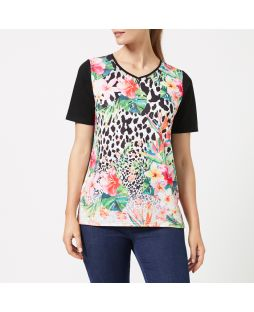 WT13 LPF|Light Knit V-Neck T-Shirt - Leopard Floral