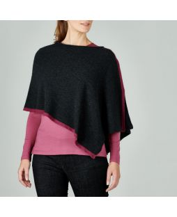 WT26 LRVST|LAMBY SPLIT PONCHO Red Violet / Light Charcoal