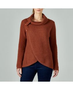 Lambswool Roll Neck Crossover Sweater Ginger