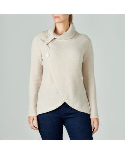 Lambswool Roll Neck Crossover Sweater Oatmeal