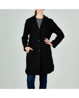 WT42 BLA|Lambswool Shawl Collar Coat Black