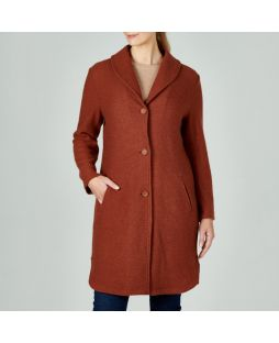 Lambswool Shawl Collar Coat - Ginger