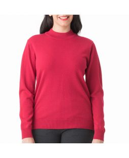 Merino Wool Classic Mock Turtle Neck Jumper Red