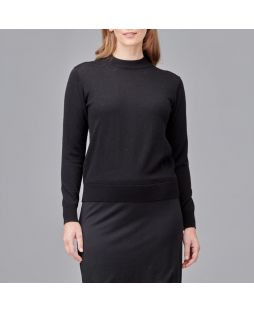 Merino Wool Mock Turtle Neck Pullover Black