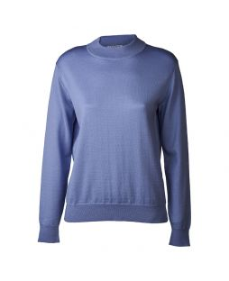 Merino Wool Mock Turtle Neck Pullover Blue
