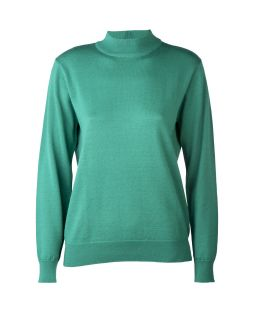 Merino Wool Classic Mock Turtle Neck Jumper Emerald