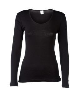 Merino Wool Inside Outside Long Sleeve Top Black