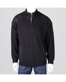 Ansett Wool Zip Cardi Suede Trim Black