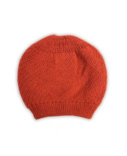 Baby Alpaca Moss Stitch Slouch Beanie Burnt Orange