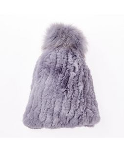 Rabbit Pompom Beanie Light Grey