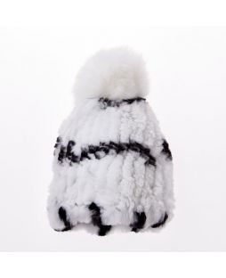 Rabbit Pompom Beanie White Black