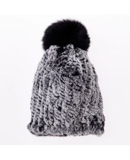 Rabbit Pompom Beanie Frost Black