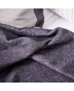 Wool Alpaca Blanket Herringbone Black