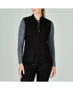 Boiled Wool Vest Black