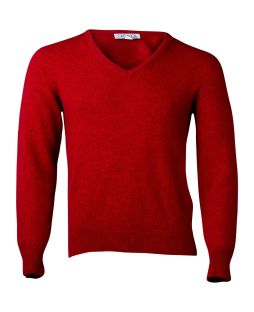 Possum Rack Stitch Vee Jersey Red