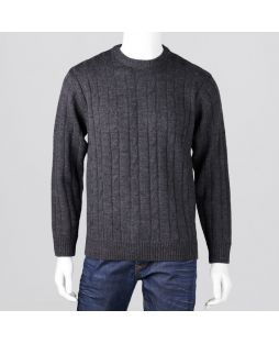 Ansett Crew Neck Cable with Ribbed Back Charcoal