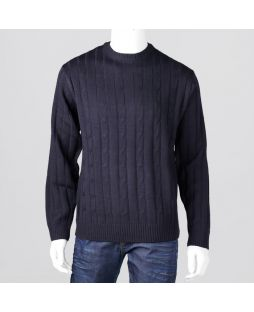 Ansett Crew Neck Cable with Ribbed Back Navy
