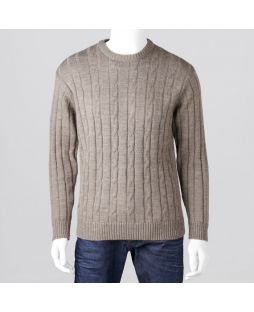 Ansett Crew Neck Cable with Ribbed Back Sable