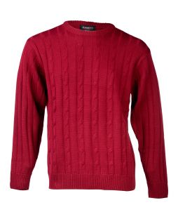 Ansett Crew Neck Cable with Ribbed Back Wine