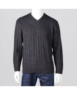 Ansett Black Merino Wool Vee Neck Charcoal
