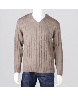 Ansett Vee Neck Cable Knit - Sable