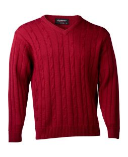 Ansett Vee Neck Cable with Ribbed Sweater Wine