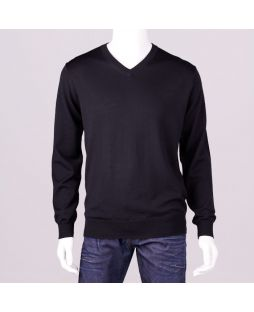 Ansett Black Merino Wool Vee Neck Black