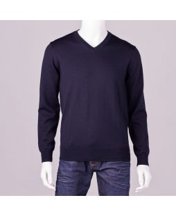 Ansett Black Merino Wool Vee Neck Navy