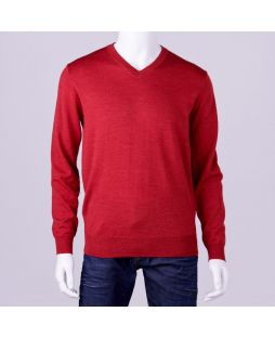 Ansett Merino Wool Vee Neck - Red