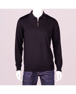 Ansett Merino Wool 1/2 Zip Polo Black