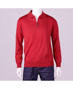Ansett Merino Wool 1/2 Zip - Red