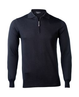 Ansett Merino Wool 1/2 Zip Polo - Black