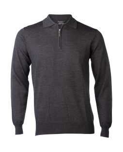 Ansett Merino Wool 1/2 Zip Polo Charcoal