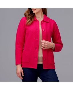 Ladies Boiled Wool Classic Jacket Lipstick Pink