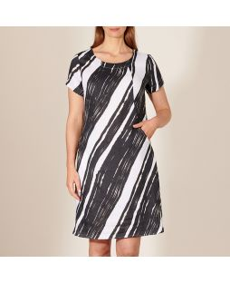 Linen Short Sleeve Dress Wave Print
