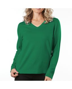 Merino Wool Essential Vee Neck Pullover - Emerald