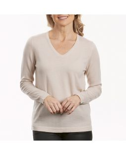 Merino Wool Essential Vee Neck Pullover - Latte
