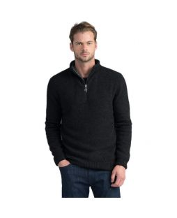 Estuary Half Zip Possum Pullover - Charcoal