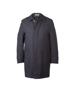 Mens Hidden Placket Long Wool Coat
