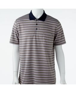 Ansett Tradewinds Block Striped Polo - Mocha