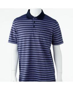 Ansett Tradewinds Block Striped Polo - Navy