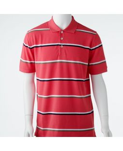 Ansett Back Bay Block Striped Polo - Musk