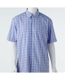 Ansett Back Bay Checked Soft Touch Shirt - Blue
