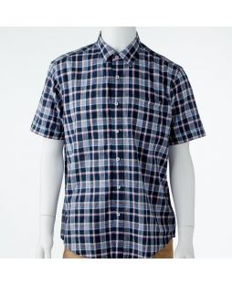 Ansett Back Bay Cotton Linen Check Shirt - Navy