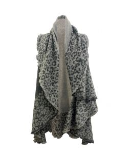 Leopard Border Charcoal Poncho
